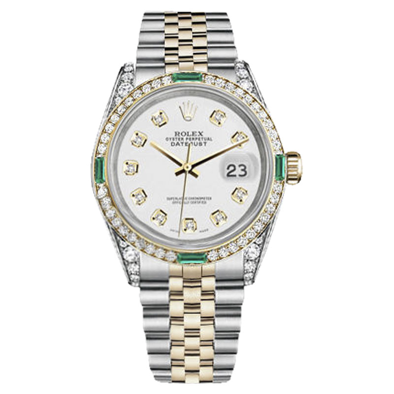 """Image of """"Rolex Datejust Steel & Gold White Diamond Dial Emerald Jubilee 26mm"""""""