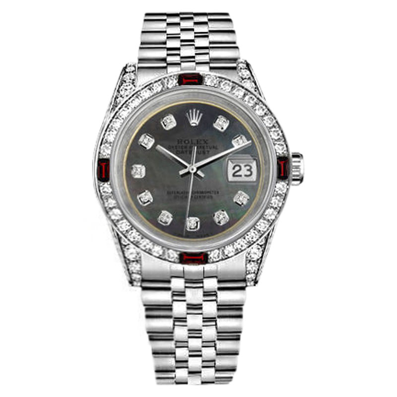 """Image of """"Rolex Datejust Stainless Steel Black Dial With Ruby & Diamonds 36mm"""""""