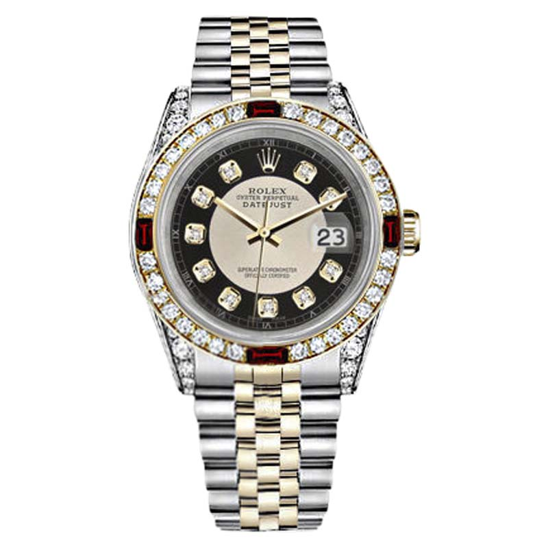 """Image of """"Rolex Datejust Stainless Steel/ 18K Gold Black Tuxedo Dial Ruby &"""""""