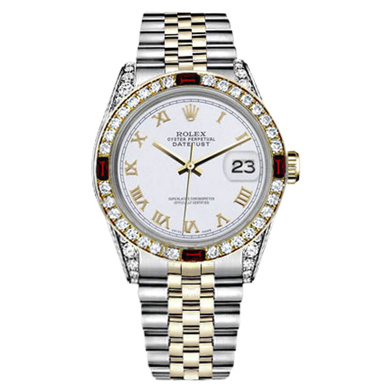 """Image of """"Rolex Datejust Stainless Steel & 18K Yellow Gold White Dial With Ruby"""""""
