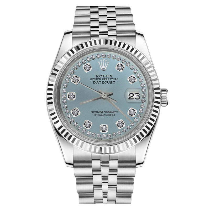 "Image of ""Rolex Datejust Stainless Steel Turquoise String Diamonds on Face"""