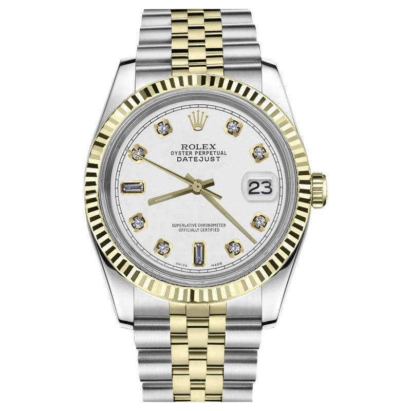 """Image of """"Rolex Datejust Stainless Steel 18K Yellow Gold White Dial Diamonds"""""""