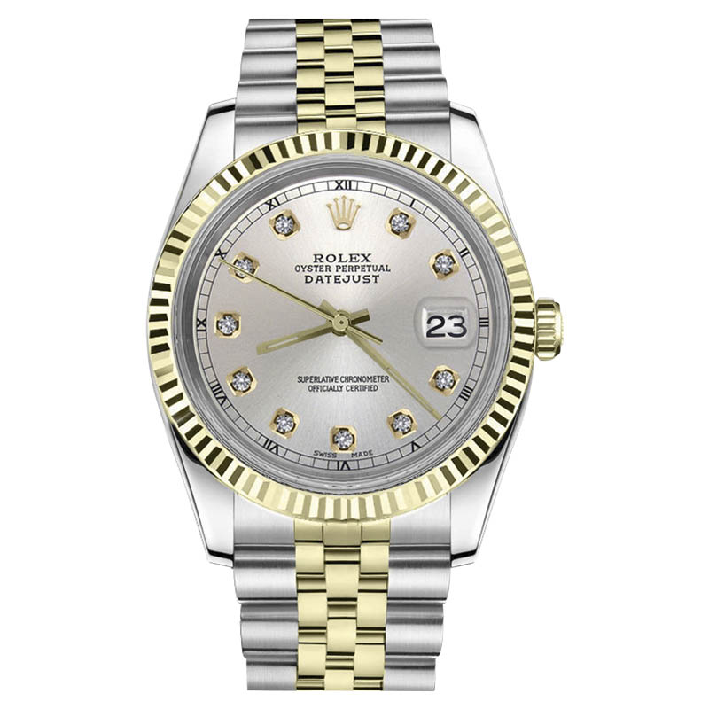 """Image of """"Rolex Datejust Two Tone 18K Gold/ Stainless Steel Silver Diamond"""""""