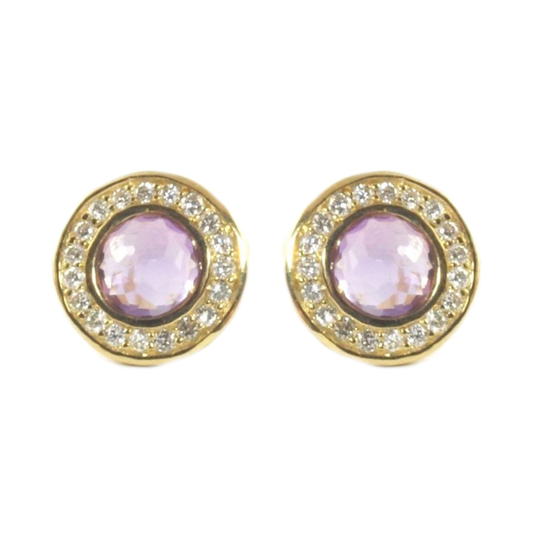 "Image of ""Ippolita 18K Yellow Gold Purple Amethyst Diamond Mini Stud Earrings"""