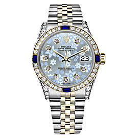 Rolex Datejust 2Tone Glossy Ice Blue Flower Dial with Sapphire & Diamond 31mm Unisex Watch