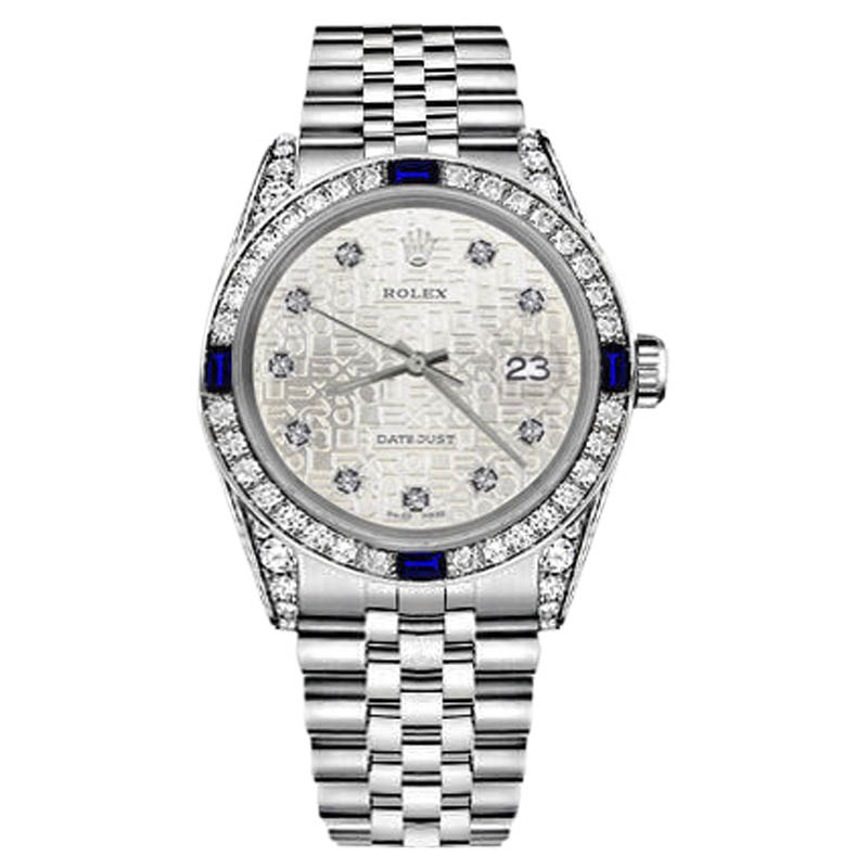 """Image of """"Rolex Datejust Stainless Steel Silver Metal Plate Dial Sapphire &"""""""