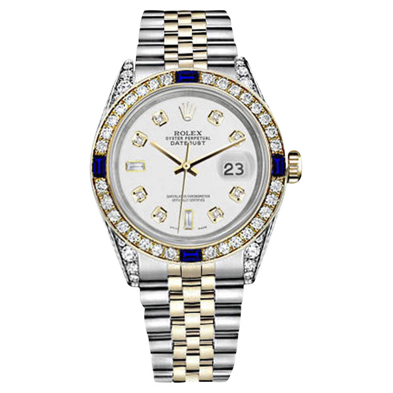 "Image of ""Rolex Datejust Two Tone 18K Gold/ Stainless Steel White 8+2 Dial with"""