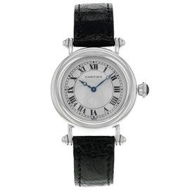 Cartier Diablo 1463.1 Platinum & Leather Hand-Wind 32mm Womens Watch