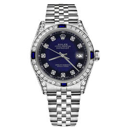 Rolex Datejust Blue Vignette Dial with Sapphire & Diamond Bezel Accent SP 36mm Unisex Watch