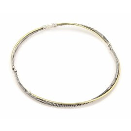 David Yurman 18K Yellow Gold 925 Sterling Silver Row Cable Necklace