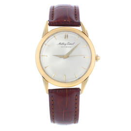 Mathey-Tissot 14K Yellow Gold & Leather Vintage 34mm Mens Watch