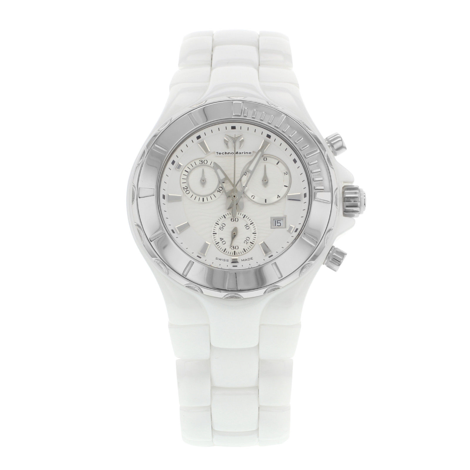 "Image of ""Technomarine Cruise 110030C White Ceramic & Steel Quartz 40mm Unisex"""