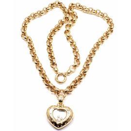 Rare Chopard 18K Yellow Gold Happy Diamond Pendant Watch Necklace