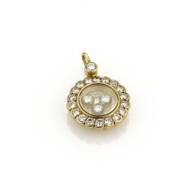 Chopard Happy 18K Yellow Gold Bezel Diamond Round Pendant