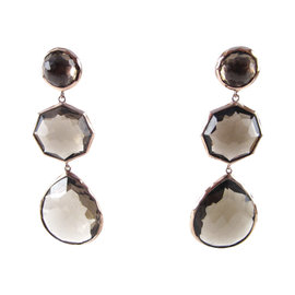 Ippolita .925 Sterling Silver Rose Gold Plated Brown Smokey Quartz Earrings