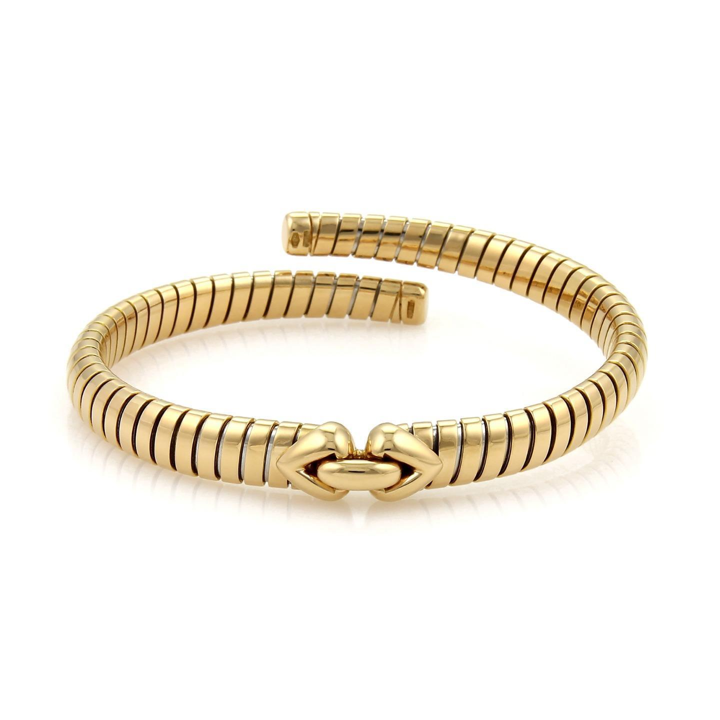"Image of ""Bulgari 18K Yellow Gold Tubogas Hearts Open Flex Band Bracelet"""