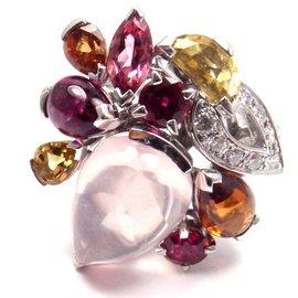 Cartier Sorbet 18K White Gold Diamond Pink Quartz Tourmaline Ring Size 5.75