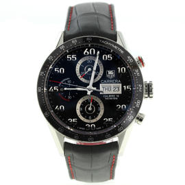 Tag Heuer Carrera CV2A10 Stainless Steel / Leather with Black Dial 43mm Mens Watch