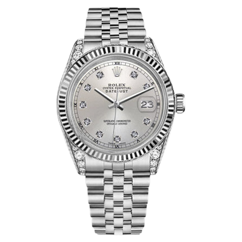 "Image of ""Rolex Datejust Stainless Steel & 18K White Gold Silver Diamond Face"""