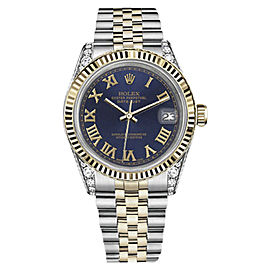 Rolex Datejust Stainless Steel/ 18K Gold Navy Blue Gold Roman Diamonds 36mm Unisex Watch