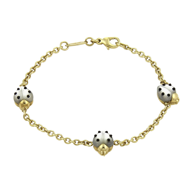 """Image of """"Chopard 18K Yellow Gold Mother of Pearl & Onyx Chain Bracelet"""""""