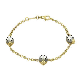 Chopard 18K Yellow Gold Mother of Pearl & Onyx Chain Bracelet
