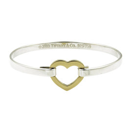 Tiffany & Co. 18K Yellow Gold and 925 Sterling Silver Heart Hook Bangle Bracelet