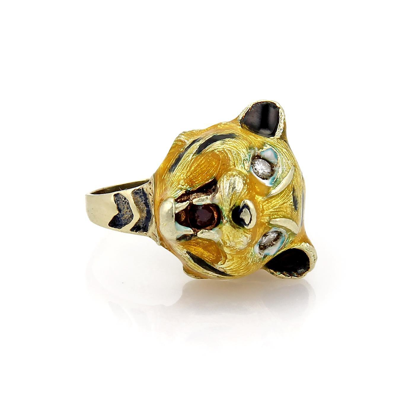 "Image of ""Carrera y Carrera 14K Yellow Gold Diamond & Multicolor Enamel Tiger"""