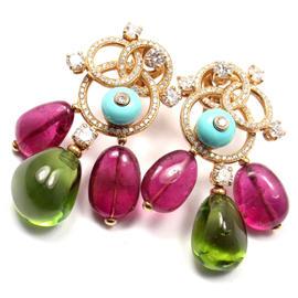 Bulgari Bvlgari 18K Yellow Gold Diamond Turquoise Tourmaline Earrings