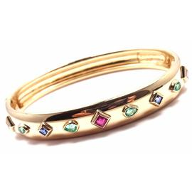 Cartier 18K Yellow Gold Sapphire Emerald Ruby Bangle Bracelet Size 6.75