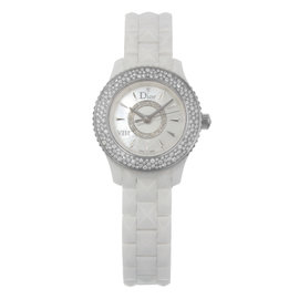 Christian Dior VIII CD1221E4C001 Ceramic & Diamond Quartz 29mm Womens Watch