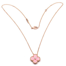 Van Cleef & Arpels 18K Rose Gold Diamond Pink Porcelain Alhambra Necklace