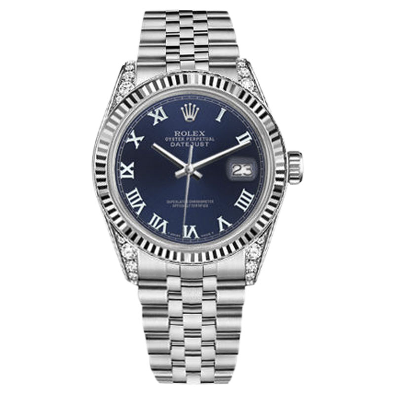 "Image of ""Rolex Datejust Stainless Steel Navy Blue Roman Numeral 18K Gold"""