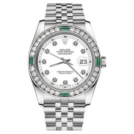 Rolex Datejust Stainless Steel White Color Dial with Emerald Diamond Accent RT 26mm Womens Watch