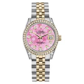 Rolex Datejust Stainless Steel/ 18K Gold Diamond Jubilee Pink Flower 26mm Unisex Watch