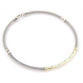 David Yurman Diamond 14K Yellow Gold & 925 Sterling Silver Cable Station Choker Necklace
