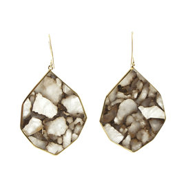 Ippolita 18K Yellow Gold Rock Candy White Calcite Bronze Teardrop Dangle Earrings