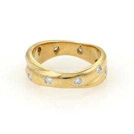 Tiffany & Co. Etoile 18K Yellow Gold & Platinum Diamond Double Band Ring Size 6
