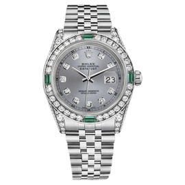Rolex Datejust Stainless Steel Emerald Diamond 26mm Womens Watch