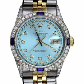 Rolex Datejust Stainless Steel & 18K Yellow Gold Ice Blue String Diamond Dial 31mm Unisex Watch