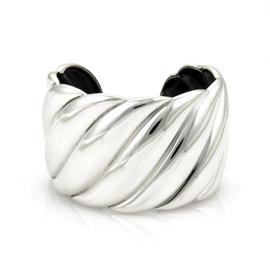 David Yurman 925 Sterling Silver Wide Sculpted Cable Cuff Bracelet