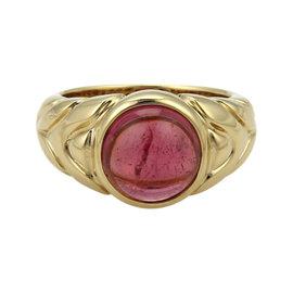 Bulgari 18K Yellow Gold Pink Tourmaline Ring Size 6.5