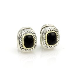 David Yurman 925 Sterling Silver & 14K Yellow Gold Albion Onyx Post Clip Earrings