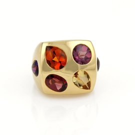 Chanel 18K Yellow Gold Multi-Color Gemstone Large Square Top Ring Size 5