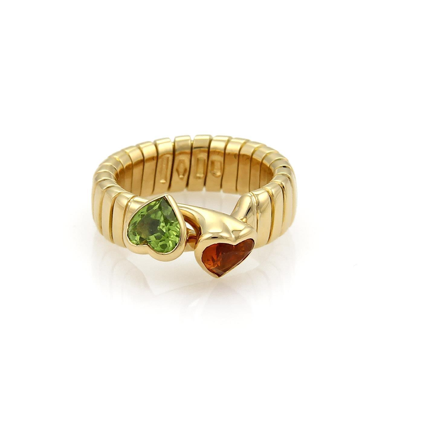 "Image of ""Bulgari 18K Yellow Gold 1.50ct Citrine & Peridot Hearts Tubogas Hook"""