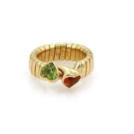 Bulgari 18K Yellow Gold 1.50ct Citrine & Peridot Hearts Tubogas Hook Ring Size 4.5