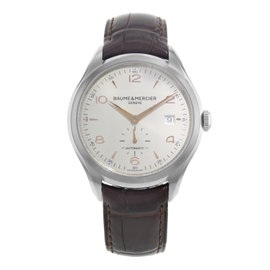 Baume & Mercier Clifton MOA10054 Stainless Steel / Leather with White Dial 40mm Mens Watch