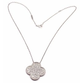 Van Cleef & Arpels 18K White Gold & Diamond Magic Alhambra Necklace