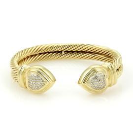 David Yurman 18K Yellow Gold with Diamonds Double Cable Hearts Cuff Bracelet