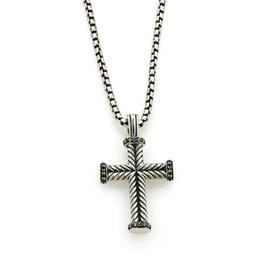 David Yurman 925 Sterling Silver with Black Diamond Chevron Cross Pendant Necklace